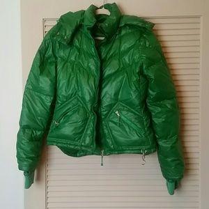 J. Crew green puffer coat size medium